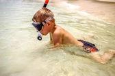 Little boy snorkeling with an underwater mask on Koh Samui — Stock Photo