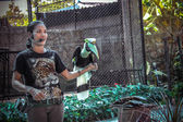 THAILAND KOH SAMUI 8 APRIL 2013 Young handsome brunette woman shows exotic bird in zoo Koh Samui — Stockfoto
