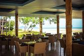 Cafe on the tropical beach Samui island — Stock Photo