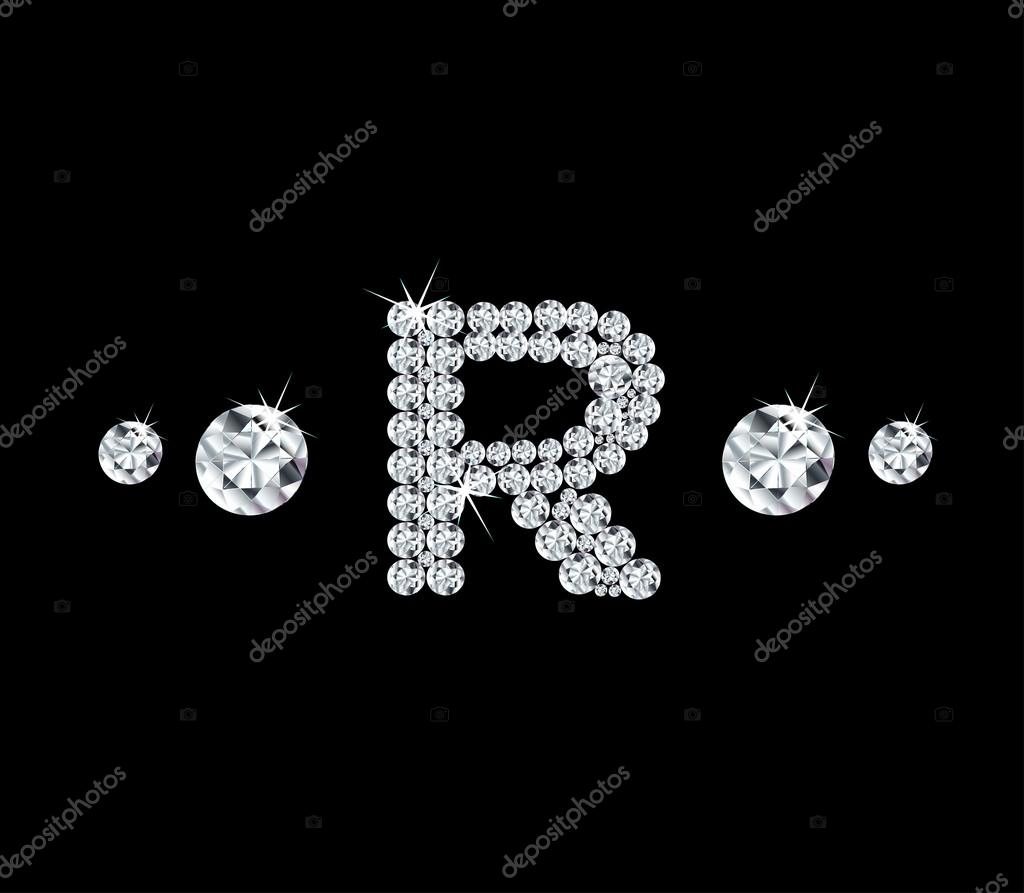 R Letter In Black Diamonds Diamond vector alphabe...