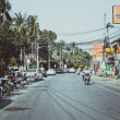 THAILAND, KOH SAMUI  4 february 2014. Road, the main street in retro colors — Stock Photo #56939991