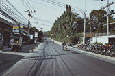 THAILAND, KOH SAMUI  4 february 2014. Road, the main street in retro colors — Stock Photo