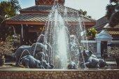 Elephant fountain  on Koh Samui in retro colors — Stock Photo