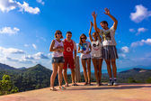 Happy friends on the mountain and beauty landscape — 图库照片