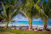 Sea and beach with coconut palm on Lamai Beach in Koh Samui — Stock Photo
