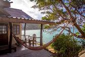 Romantic hammock in private house near the tropical beach — Stock Photo