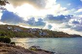 Playa tropical al atardecer - fondo de naturaleza — Foto de Stock