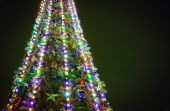 Christmas tree with lights on green background — ストック写真
