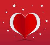 Red heart paper sticker. Vector illustration — Stock Vector