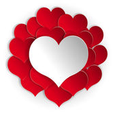 Paper red hearts background with white heart. Vector concept illustration — Vetor de Stock