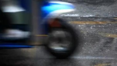 Close up of Road in the city centre during torrential rain. Blurred background. HD. 1920x1080 — Stockvideo