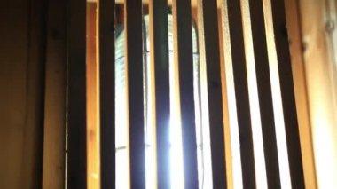 Wooden lamp in sauna room. HD. 1920x1080 — Stockvideo