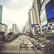 Bangkok, Thailand 3 august 2014. Traffic along a busy road and city landscape — Stock Photo #63630613
