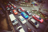 BANGKOK 2 August 2014 Traffic moves slowly along a busy road — Stock Photo