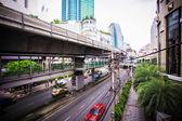 Sky train in Bangkok. Thailand. City landscape — Stock Photo