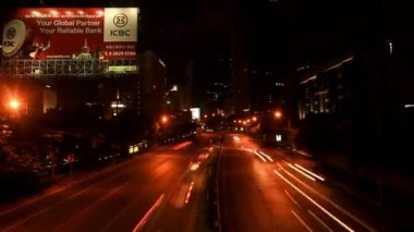 THAILAND 3 august 2014, Speed up Timelapse. Night traffic on the road. City lights. Background with blurring bokeh. HD. 1920x1080 — Stock Video
