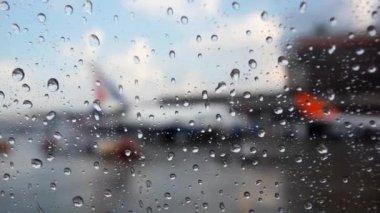 Raindrops on the Airport Window. HD. 1920x1080 — Stok video