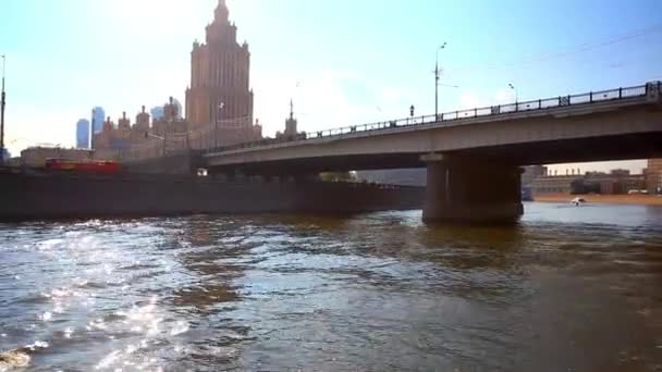 Touristic cruise ships in Moscow river. HD. 1920x1080 — Vídeo de stock
