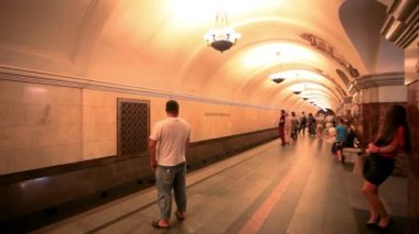 MOSCOW, RUSSIA, 13 AUGUST 2014, Daily life Moscow metro passengers. HD. 1920x1080 — Stock Video