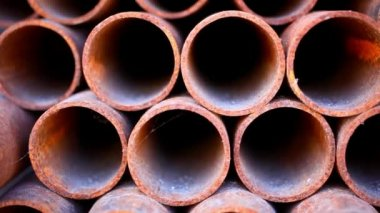 Many rusty pipes of Russian factory. HD. 1920x1080 — Stockvideo