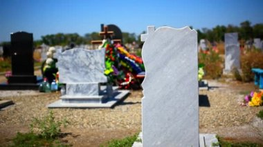 Headstones in National Cemetery with change focus. HD. 1920x1080 — Wideo stockowe