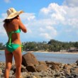 Young woman talking on her mobile, cell phone at the beach. Koh Samui, Thailand video — Vídeo de stock #65494737