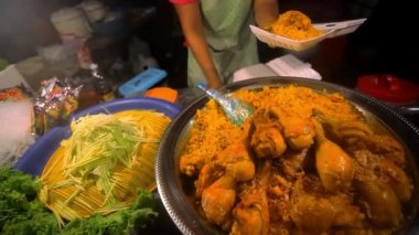 Thai food  fried chicken with rice sale in Thailand street market. HD. 1920x1080 — Stock Video