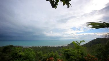 View from view point of Samui island in Thailand cloudy day — Stock Video