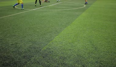 Soccer players on the field view only at their feet — Stock Video