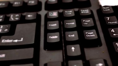 Close up of a black keyboard english and thai alphabet. Macro video shift motion — Stock Video