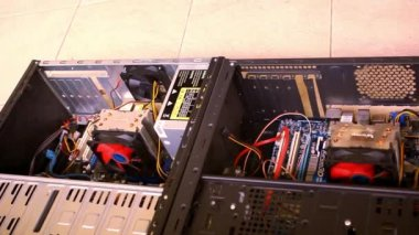 CPU Unit Server Room Data Center. Open the computer case. Video shift motion — Stock Video