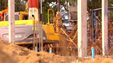 Rash concrete reservoir tap in construction site. Video — Stock Video