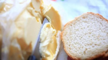 Butter smears  on Slices of Wheat Bread , closeup. HD. 1920x1080 — Stock Video