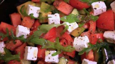 Close up of greek salad. HD. 1920x1080 — Stock Video