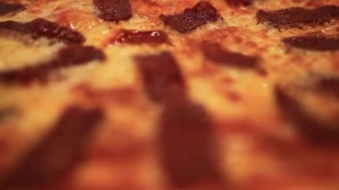 Circle hot pizza close up. HD. 1920x1080 — Stock Video