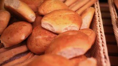 Supermarket. Bread showcase. Close up. HD. 1920x1080 — Stock Video