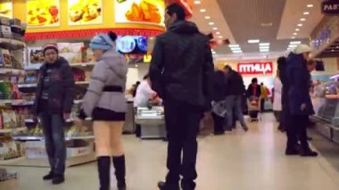 RUSSIA, MOSCOW, 7 MARCH 2015, Timelapse speed up. People shopping at the grocery supermarket. HD. 1920x1080 — Stock Video