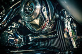 Close up view of a shiny motorcycle engine. Macro — Stock Photo