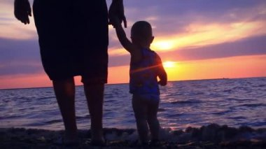 Dad and son walking along the beach during the sunset in purple colors — Stock Video