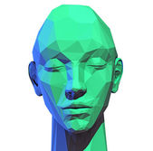 Low poly  human head — Stock Photo