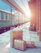 Retro railway station — Stock Photo