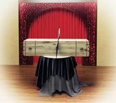 Magician sawing box — Stock Photo