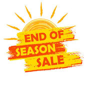 End of season sale with summer sun sign, yellow and orange drawn — Стоковое фото