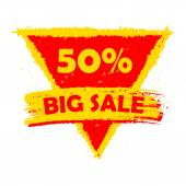 50 percentages big sale, yellow and red drawn triangle label — Stock Photo