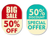50 percent off discount, big sale and special offer, two ellipti — Stock Photo