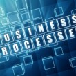Business processes in blue glass blocks — Stock Photo #69852301
