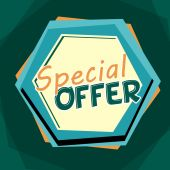 Special offer, blue and orange cartoon drawn label — Stock Photo