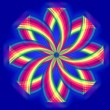Mandala flower, rainbow colors in circles over blue — Foto de Stock   #70441331