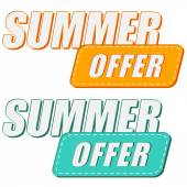 Summer offer, two colors labels — Stock Photo