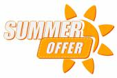 Summer offer with sun sign, flat design label — Stock Photo